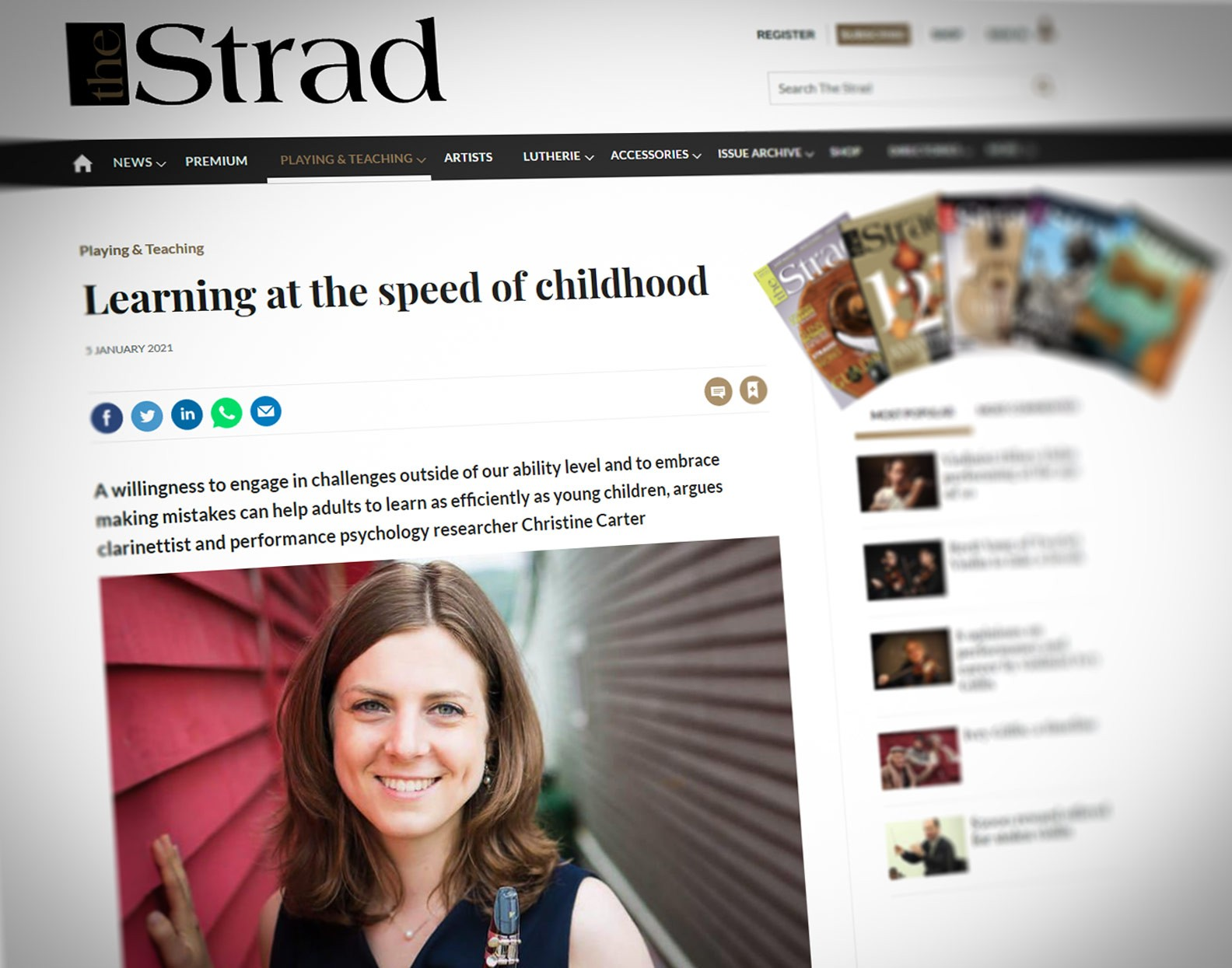 Christine Carter in 'The Strad'
